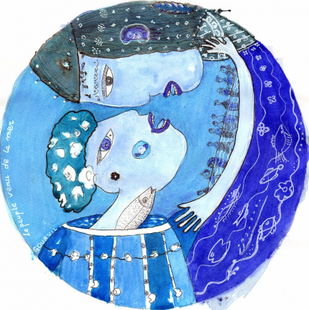 Dessin 8 – Le peuple venu de la mer (diam. 20 cm)